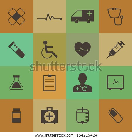 Retro style  Medical Icons vector set. - stock vector