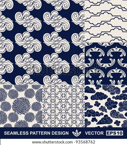 Retro style monochrome vector seamless fabric, pattern, wallpaper, wrapping and background set with vintage clouds, birds, flowers and geometric ornaments for decoration and design