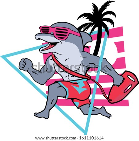 retro style of Baywatch style dolphin