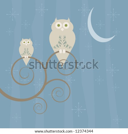 Retro style owls perched on a swirly tree in the moonlight