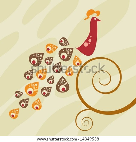 Retro style peacock on swirly vine. Patterned background. Vector