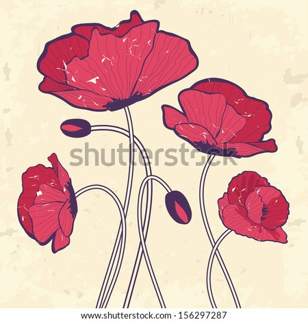 retro style poppies
