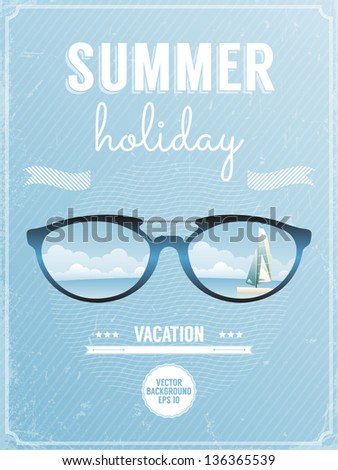Retro style poster for summer holiday. Vector illustration