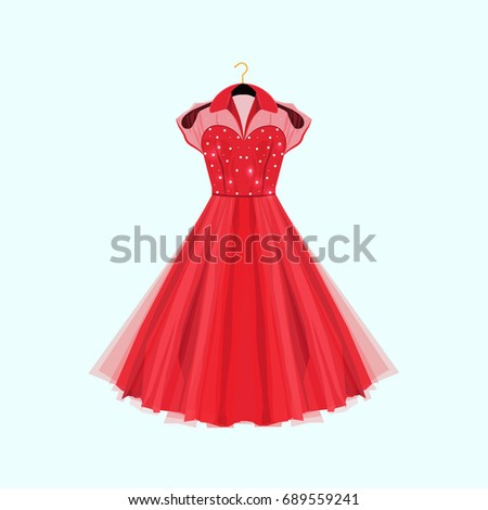 retro style red party dress