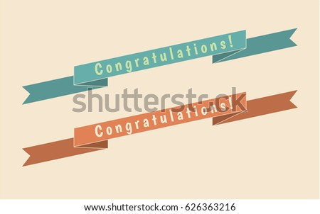 Retro style ribbons set with Congratulations! lettering. Can be used for greeting, wedding, invitation cards, banners, backgrounds. Vector illustration.