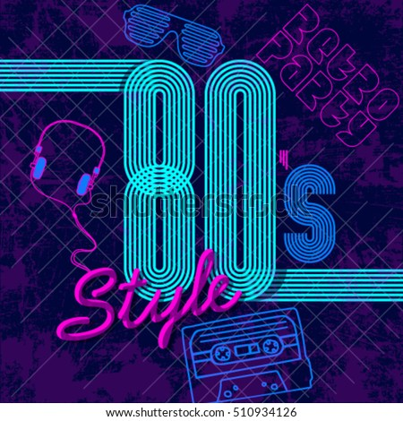 retro style 80s disco design