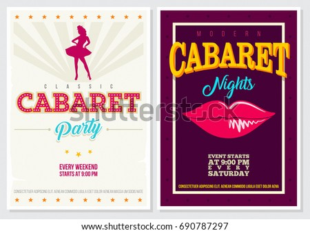 Retro Style 70's 80's 90's Vintage Cabaret Poster with Beautiful Female Dancer and Lips