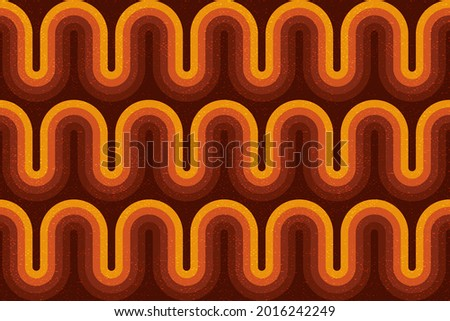 Retro style seamless pattern with colorful waves, curly stripes. Endless wallpaper, fabric print with canvas grunge texture. 70s, boho ornament. Сток-фото ©