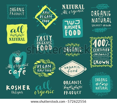 Retro style set of natural, organic and kosher food restaurant menu logo label templates with floral and vintage elements in vector