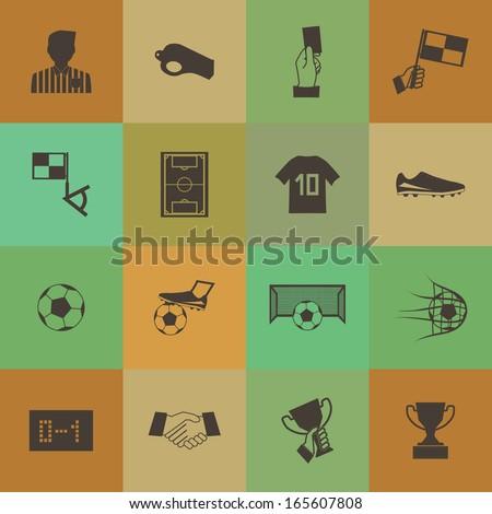 Retro style Soccer football icons vector set.
