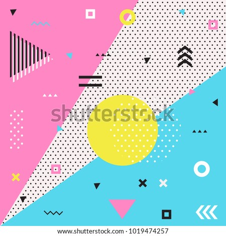 Retro style texture, pattern and geometric elements. Modern abstract design poster, card design.