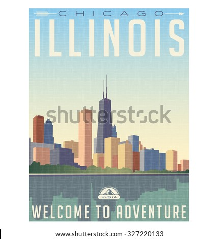Retro style travel poster or sticker. United States, Chicago Illinois