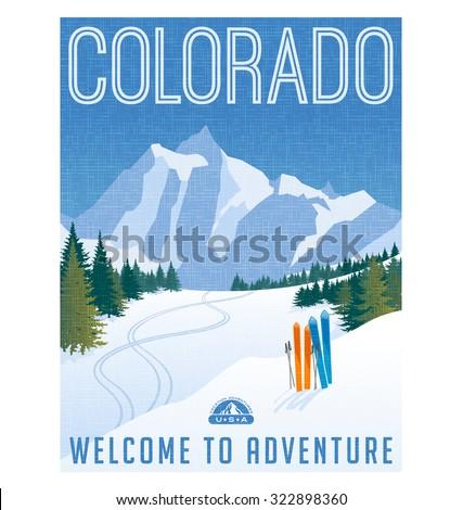Retro style travel poster or sticker. United States, Colorado ski mountain landscape.