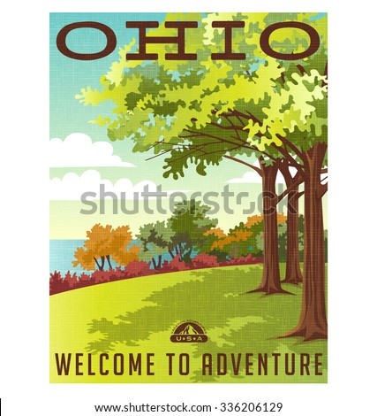 Retro style travel poster or sticker. United States, Ohio landscape