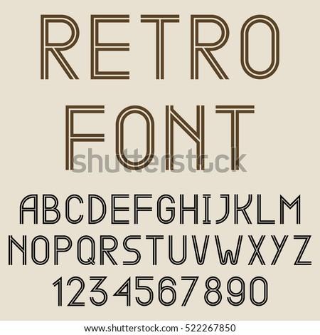 Retro style vector font #522267850