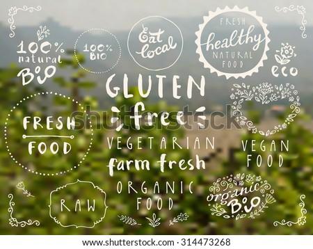 Retro style vector set of 100% bio, local, healthy, farm fresh, eco, organic, gluten free, vegetarian, vegan food labels on blurred rural background. Restaurant menu logo or badge templates