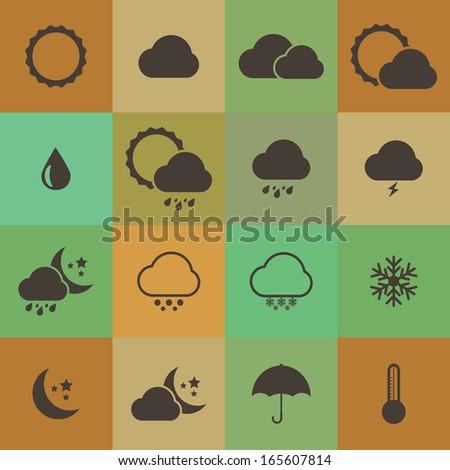 Retro style weather icon vector set.