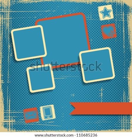 Retro Style Website Template. Vector design frame. - stock vector