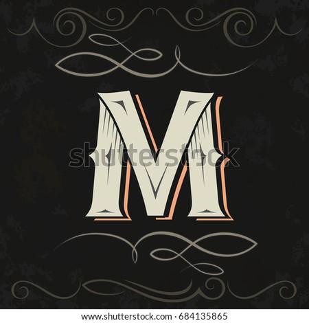 Retro style. Western letter design. Letter M