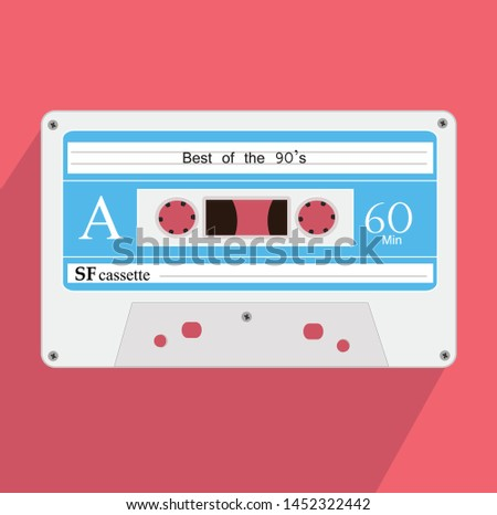 retro style white and blue audio cassette flat icon vector illustration on pink background with long shadow