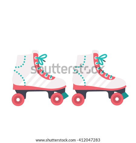 Retro style White woman roller blades icon. skating vector illustration. isolated on white. Flat design.