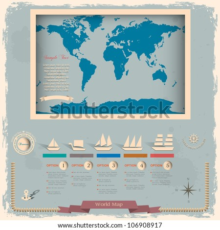 Retro style world map with nautical design elements.Vector template