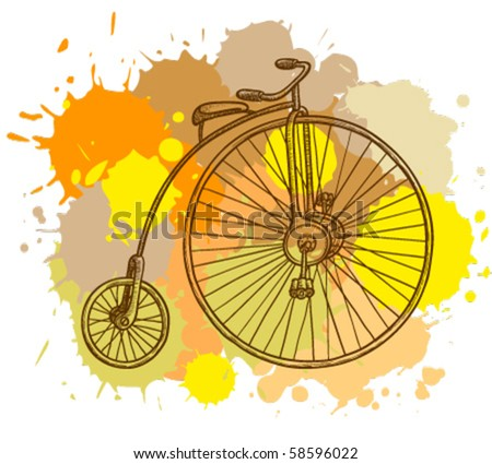 Retro-styled bicycle, grunge vector illustration