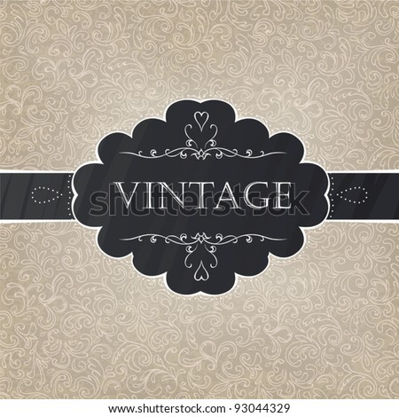 Retro styled card with old-fashioned ornament background. Vector, EPS10