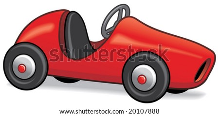 Retro styled child's pedal car isolated on white