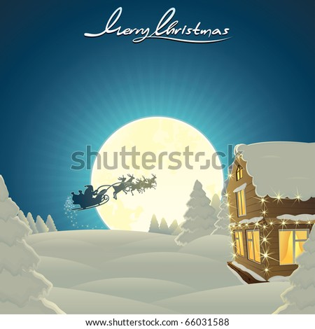 Retro styled Christmas Card with Santa's sled flying over magic valley - vector template with copy space