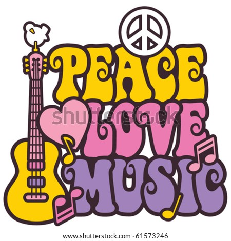 Retro-styled design of Peace, Love and Music with a dove, peace symbol, heart, musical notes and guitar.