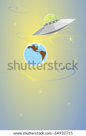 Retro styled flying saucer flying over the earth.