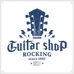 Retro styled guitar shop logo. Music icon for audio store, branding or poster.