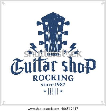retro styled guitar shop logo