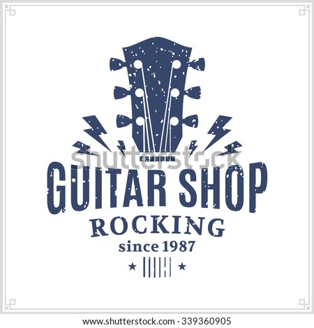 retro styled guitar shop logo