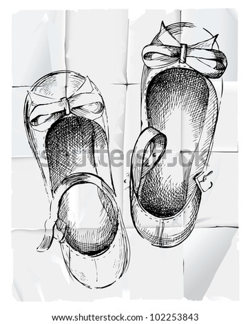 Retro-styled hand drawn girl shoes on paper background.