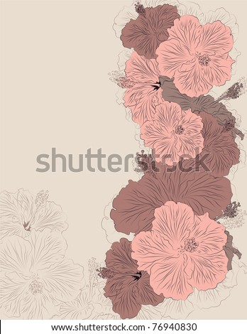stock vector Retro styled hand drawn Hibiscus flower page layout