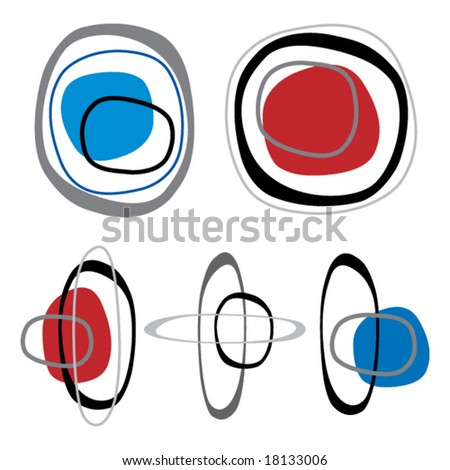 Retro styled interlocking rounded squares in shades of red blue and black