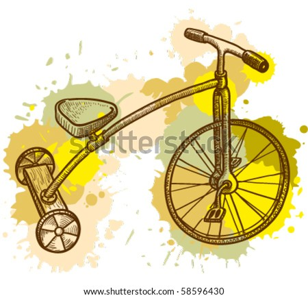 Retro-styled kid tricycle, grunge vector illustration