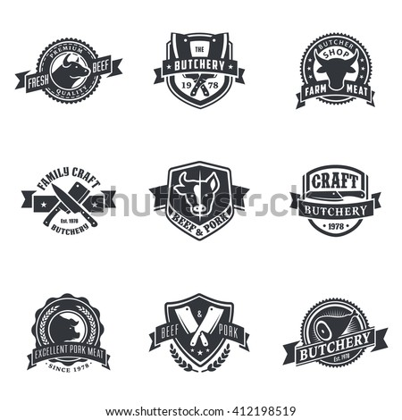 retro styled labels set of meat