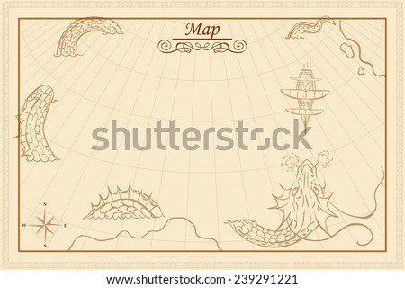 retro styled map of the sea