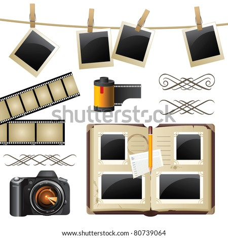 Retro-styled photography set - vector.