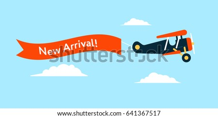 Retro styled plane with the ribbon and text new arrival. Flat design illustration. Perfect for web banners and advertisement.