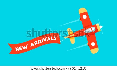 Retro styled plane with the ribbon. Flat design illustration. Perfect for web banners and advertisement. New arrivals and new collection concept perfect for sales boost.