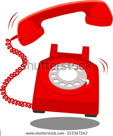 Retro styled red telephone ringing