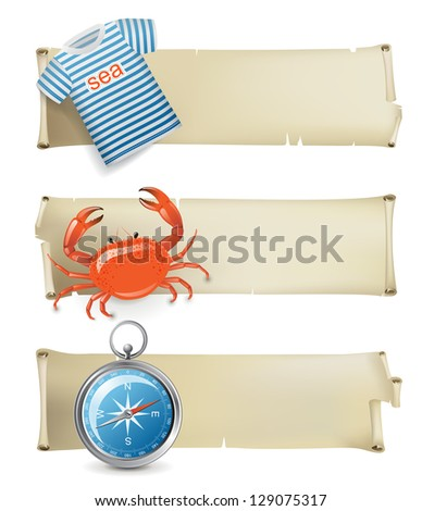 Retro-styled sea banners