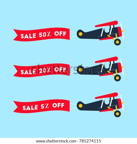 Retro styled set of planes with the ribbon. Flat design illustration. Perfect for web banners and advertisement. Sales concept.