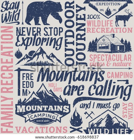 Retro styled typographic vector mountain and outdoor adventures seamless pattern or background. Tourism, hiking and travel icons for tourism organizations, outdoor events and camping leisure