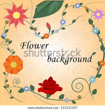 Retro Stylish Floral Background - Vector illustration. Hand drawn floral background with flowers. Elements for design - stock vector