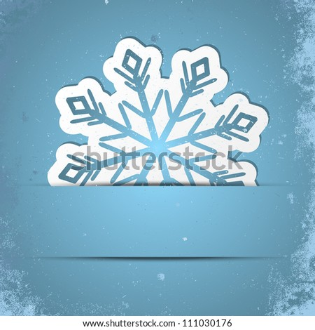 Retro stylized background with Xmas snowflake